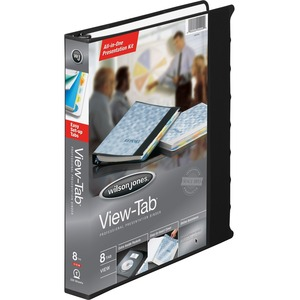 "Wilson Jones View-Tab Presentation Binder - Letter - 8.5"" x 11"" - 175 Sheet x 1"" Capacity - 1 Each - Black"