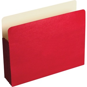 "Wilson Jones ColorLife File Pocket - 3.5"" Expansion - 9.5"" x 11.75"" - 10 / Box - Red"