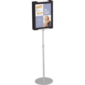 Acco Brands Corporation Quartet® Adjustable Sign Stand, 44- 73, Freestanding, 2-sided - 1 Each - 73 Height - 15 Holding Width X 44 Holding Height - Telescopic Shape - Adjustable Height, Double-sided, Lightweight - Metal - Silver