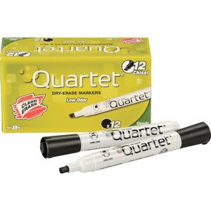 Quartet Low Odor Dry Erase Markers - Marker Point Style: Chisel - Ink Color: Black - Barrel Color: White - 12 / Dozen