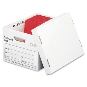 "Sparco File Storage Box - Letter, Legal - External Dimensions 10"" Height x 12"" Width x 15"" Depth - Cardboard - White"