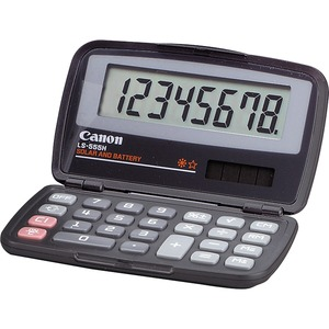 "Canon LS555H Compact Pocket Calculator - 8 Character(s) - LCD - Solar, Battery Powered - 0.5"" x 4.81"" x 2.88"" - Black"