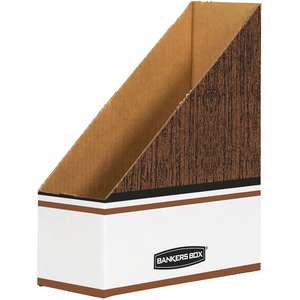 Fellowes Bankers Box Open-Back Magazine File - White, Woodgrain - Cardboard - 12 Pack