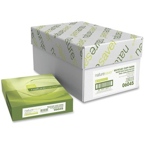 "Nature Saver Recycled Multipurpose Paper - Letter - 8.5"" x 11"" - 20lb - 92 GE/102 ISO (D65) Brightness - 5000 / Carton - White"
