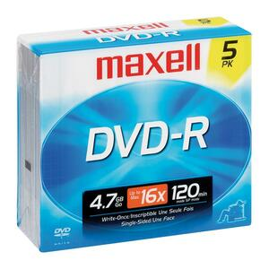 Maxell DVD Recordable Media - DVD-R - 16x - 4.70 GB - 5 Pack Jewel Case 638002