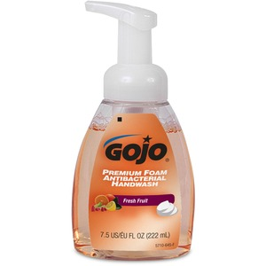 Gojo Premium Antibacterial Foam Handwash - Fresh Fruit Scent - 7.5fl oz - Pump Bottle Dispenser - Antimicrobial, Rich Lather - Orange - 1 Each