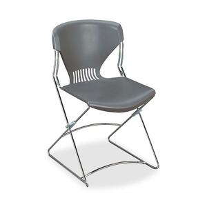 "HON Olson Flex Stacker FLEX01 Armless Stacking Chair - Steel Chrome Frame19.75"" x 22.25"" x 31"" - Polymer Gray Seat"