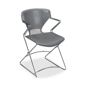 "HON Olson Flex Stacker FLEX02 Stacking Chair With Arms - Steel Chrome Frame21"" x 22.25"" x 31"" - Polymer Gray Seat"