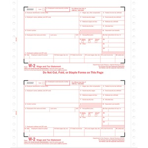"Tops Standard W-2 Tax Form - 6 Part - Carbonless - 8.5"" x 5.5"" Sheet Size - White - 24 / Pack"