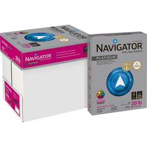 "Navigator Platinum Office Multipurpose Paper - Letter - 8.5"" x 11"" - 28lb - Smooth - 99 GE/112 ISO Brightness - 2500 / Carton - White"