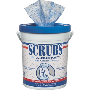 "ITW Dymon SCRUBS Hand Cleaner Towel - Cleaning Towel - 72 Towel - 12.25"" x 10.5"" - White, Blue"