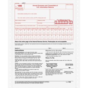 "Tops 1096 Tax Form - 2 Part - Carbonized - 8"" x 11"" Sheet Size - White - 10 / Pack"