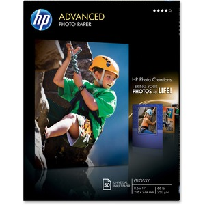 "HP Advanced Photo Paper - Letter - 8.5"" x 11"" - 210g/m² - Glossy - 50 / Pack - White"