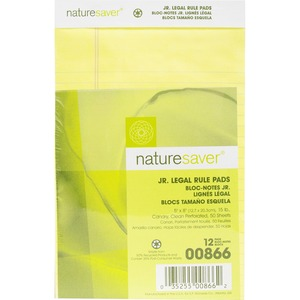 "Nature Saver Recycled Legal Ruled Pad - 50 Sheet(s) - 15lb - Legal Ruled - Jr.Legal 5"" x 8"" - 12 / Dozen - Canary"