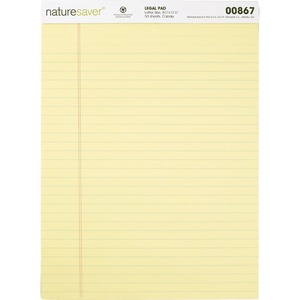 Nature Saver 100% Recycled Canary Legal Ruled Pads NAT00867
