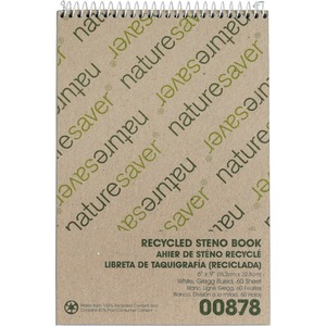"Nature Saver Recycled Steno Book - 60 Sheet(s) - Gregg Ruled - 6"" x 9"" - 1 Each - White"