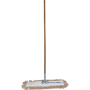 "Genuine Joe 54101 Dust Mop with Handle - 60"" Width x 0.94"" Height - Cotton Head - Wood Handle - Swivel Head, Lightweight, Chrome Plated - 1 Each"