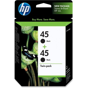 HP No.45 Twinpack Black Ink Cartridge - Inkjet - 830 Page - Black - 2 / Pack