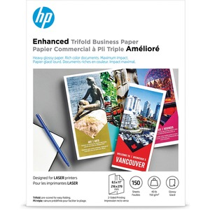 "HP Tri-fold Color Laser Brochure Paper - Letter - 8.5"" x 11"" - 160g/m² - Glossy - 150 / Pack - Bright White"