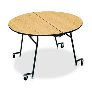 "HON Cafeteria Table - Round x 29"" x 0.75"" - 48"" - Steel - Natural Maple, Black"
