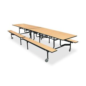 "HON Cafeteria Table - Rectangle - 30"" x 144"" x 29"" x 3.75"" - Steel - Natural Maple, Lava, Black"