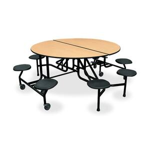 "HON Cafeteria Table with Stool - Round x 29"" x 0.75"" - 60"" - Steel - Natural Maple, Lava, Black"
