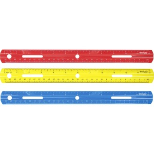 Acme United Corporation Westcott 12 Plastic Ruler - 12 Length - 1/16 Graduations - Imperial, Metric Measuring System - Plastic - 1 Each - Assorted