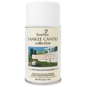 TimeMist Yankee Candle Air Freshener - Aerosol - 6000ft³ - 6.6 oz - Clean Cotton - 30 Day