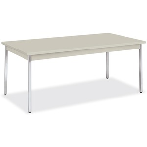 "HON High-pressure Laminate Utility Table - Rectangle - 72"" x 36"" x 29"" - Chrome, Metal, PVC, Steel"