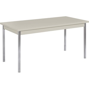 "HON High-pressure Laminate Utility Table - Rectangle - 60"" x 30"" x 29"" - Chrome, Metal, PVC, Steel - Light Gray"