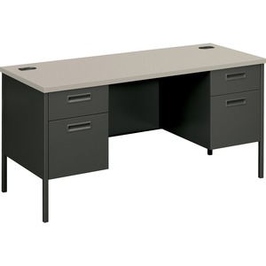 "HON Metro Classic Kneespace Credenza - 2 Box, 2 Drawer - 24"" x 60"" x 29.5"" - Steel - Gray"