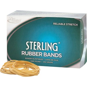 Alliance Rubber Sterling Rubber Band - Size: 19 - 3.5&quot; Length x 0.06&quot; Width - Latex-free, Biodegradable, Sustainable - 1 Box - Rubber - Crepe