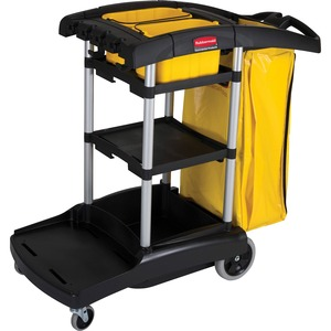 "Rubbermaid High Capacity Cleaning Cart - 20 quart - 2 x 4"", 2 x 8"" Caster - Plastic, Aluminum - 21.75"" x 50"" x 38"" - Black"