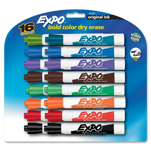 Expo Original Bold Dry Erase Marker - Chisel Marker Point Style - Assorted Ink - 16 / Set