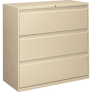 "HON 800 Series Wide Lateral File - 42"" x 19.25"" x 41"" - Steel - 3 x File Drawer(s) - Letter - Interlocking - Putty"