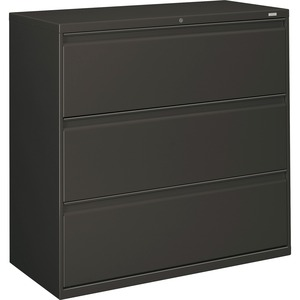 "HON 800 Series Wide Lateral File - 42"" x 19.25"" x 41"" - Steel - 3 x File Drawer(s) - Legal, Letter - Interlocking - Charcoal"
