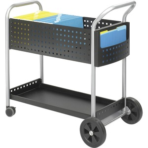 "Safco Scoot Mail Cart - 3"" Caster - Steel - 21.75"" x 32"" x 38.5"" - Black"