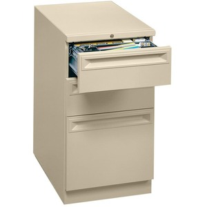 "HON Flagship 38000 Series ""K"" Pull File Cabinet - 15"" x 23"" x 28"" - 2 x Box, 1 x File Drawer(s) - Security Lock, Ball-bearing Suspension - Putty"