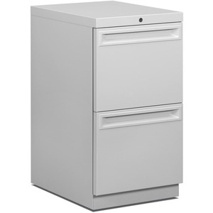"HON Flagship ""K"" Pull 38000 Series File Cabinet - 15"" x 20"" x 28"" - 2 Drawer(s) - Ball-bearing Suspension, Security Lock - Light Gray"