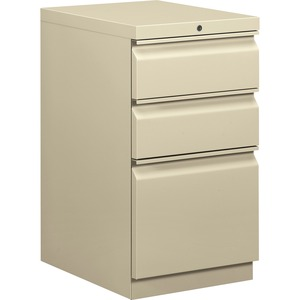 "HON Brigade Series Mobile Pedestal - 15"" x 20"" x 28"" - 2 x Box, 1 x File Drawer(s) - Legal, Letter - Security Lock - Putty"