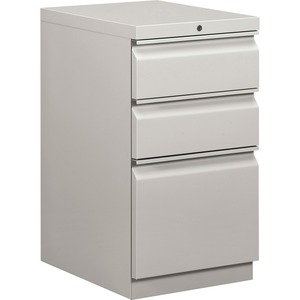 "HON Brigade Series Mobile Pedestal - 15"" x 20"" x 28"" - 2 x Box, 1 x File Drawer(s) - Legal, Letter - Security Lock - Light Gray"