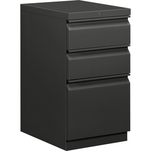 "HON Brigade Series Mobile Pedestal - 15"" x 20"" x 28"" - 2 x Box, 1 x File Drawer(s) - Legal, Letter - Security Lock - Charcoal"