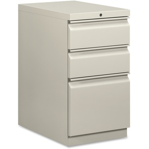 "HON Brigade Series Mobile Pedestal - 15"" x 23"" x 28"" - 2 x Box, 1 x File Drawer(s) - Legal, Letter - Security Lock - Light Gray"