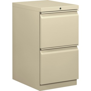 "HON Brigade Standard Height Pedestal - 15"" x 20"" x 28"" - 2 x File Drawer(s) - Security Lock - Putty"