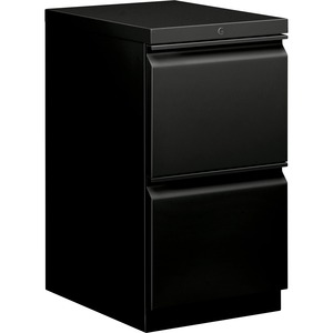 "HON Brigade Standard Height Pedestal - 15"" x 20"" x 28"" - 2 x File Drawer(s) - Security Lock - Black"