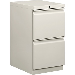 "HON Brigade Standard Height Pedestal - 15"" x 20"" x 28"" - 2 x File Drawer(s) - Security Lock - Light Gray"