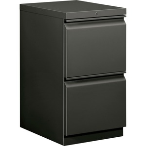 "HON Brigade Standard Height Pedestal - 15"" x 20"" x 28"" - 2 x File Drawer(s) - Security Lock - Charcoal"
