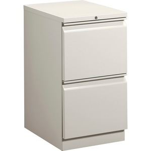 "HON Brigade Standard Height Pedestal - 15"" x 23"" x 28"" - 2 x File Drawer(s) - Security Lock - Light Gray"