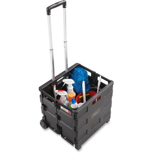 "Safco Stow Away Folding Caddy - Telescopic Handle - 50 lb Capacity - 216.5"" x 3.5"" x 18"" - Black"