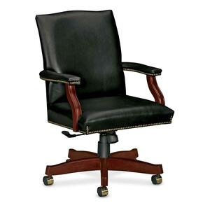 "HON Executive Leather Crest Back Chair - Wood Black Frame27"" x 29.5"" x 42"" - Black Seat"